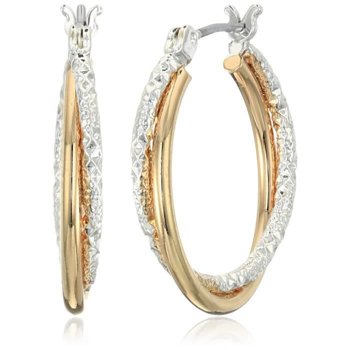 Napier Classics Two-tone Textured Click Top Hoop Earrings LRD23