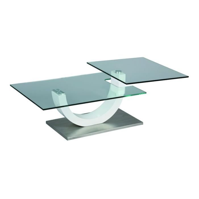 Table basse en verre socle en m tal evo achat vente for Table basse verre metal