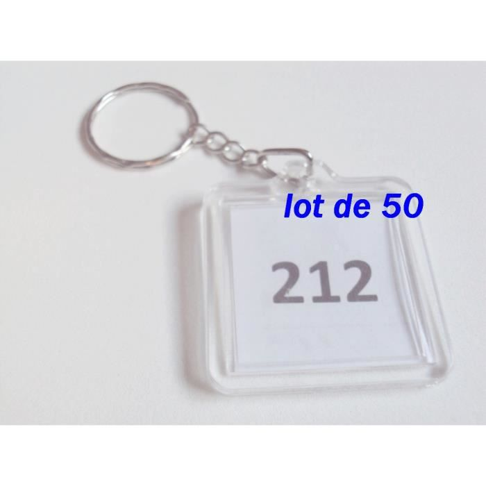 Lot de 50 porte clefs carre plastique transparent achat - Porte photos plastique ...
