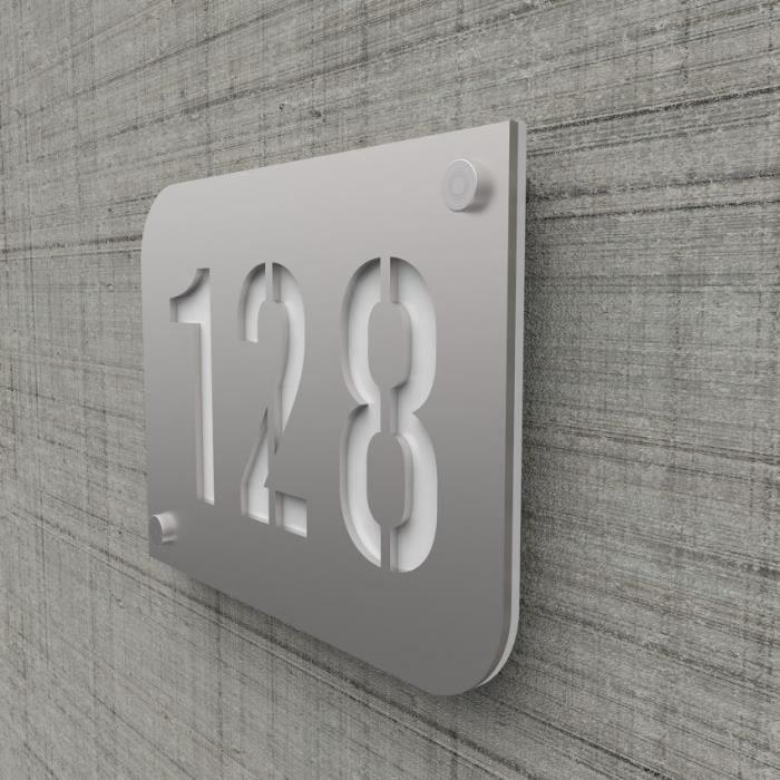 Plaque numéro de rue / maison argent brillant design avec fond  personnalisable - Modèle URBAN Blanc