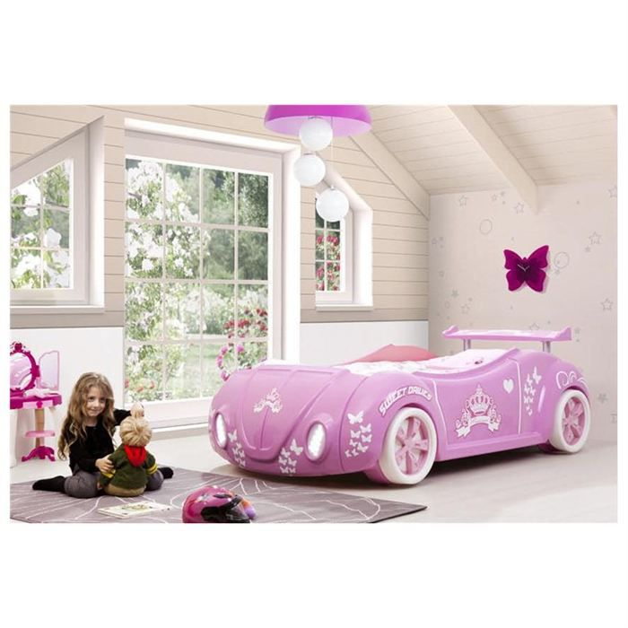 lit enfant voiture cocci rose avec phares led achat. Black Bedroom Furniture Sets. Home Design Ideas
