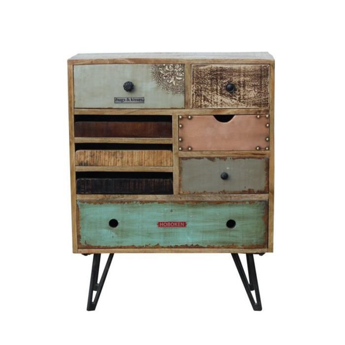 commode vintage tiroirs en bois fusion couleur bois. Black Bedroom Furniture Sets. Home Design Ideas