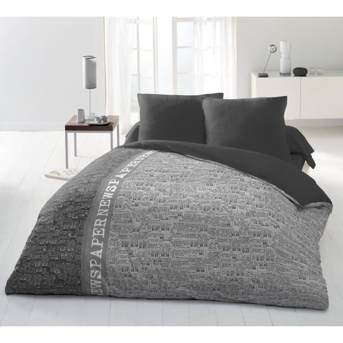 couette imprim e microfibre newspaper 220x240 cm gris. Black Bedroom Furniture Sets. Home Design Ideas