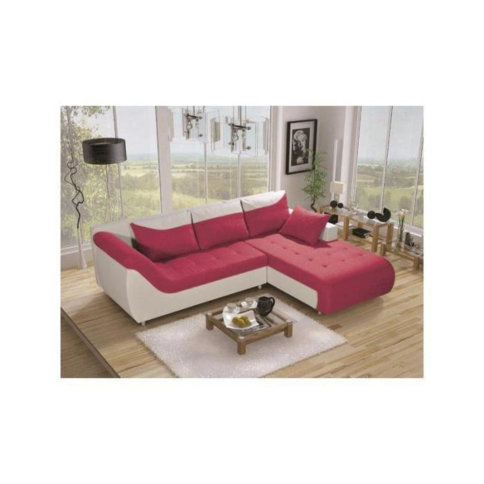 Justhome linea canap d 39 angle couleur rose a71 h x l x for Canape 2 couleurs