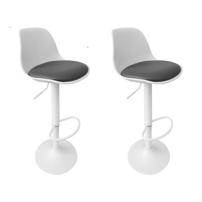 tabourets de bar maraki gris blanc lot de 2 moloo achat vente tabouret de bar blanc cdiscount. Black Bedroom Furniture Sets. Home Design Ideas