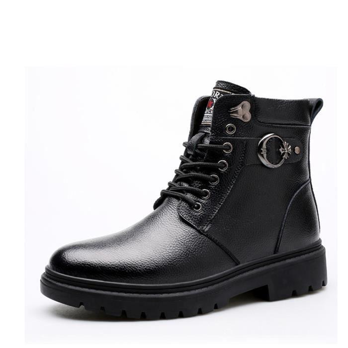 Hiver Boots Cuir à Lacets Homme Mode Bottines P