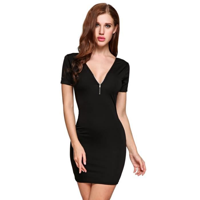 Robe de femme Plunge Collar Zipper Bodycon Pencil Going Out