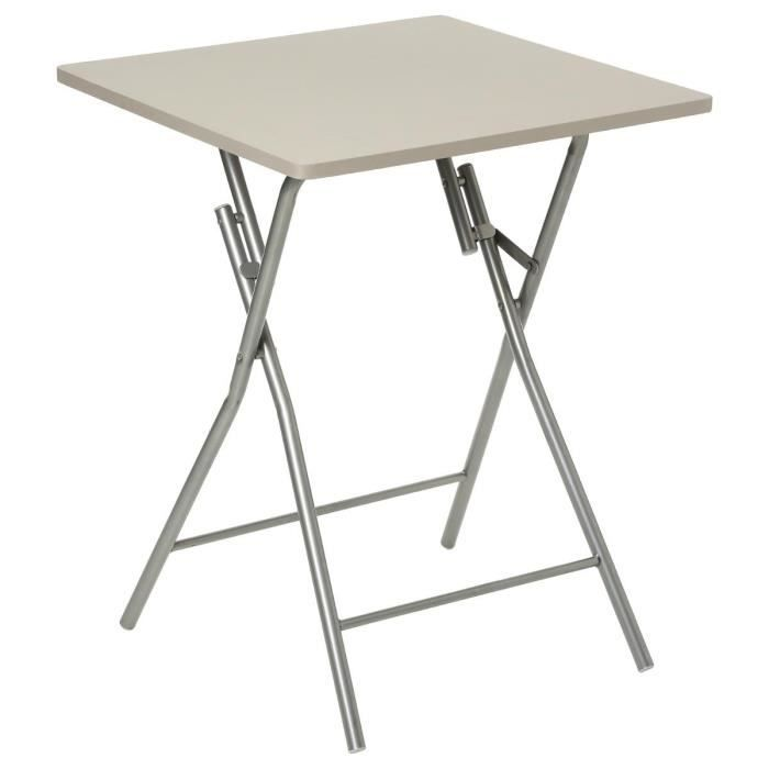 Paris prix table pliante 75cm basic taupe achat for Table a manger pliante