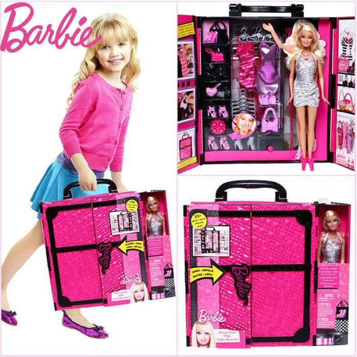 barbie jouet ensemble fille cadeau r ver penderie imitation beautician livraison gratuite. Black Bedroom Furniture Sets. Home Design Ideas