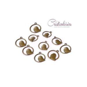 Perles Breloques bronze - 50 Jolies breloques Oiseau - Di