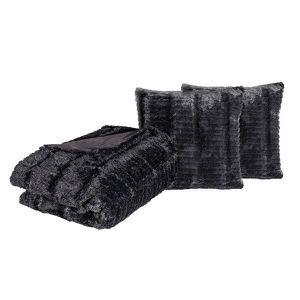 JETÉE DE LIT - BOUTIS Couverture couvre lit Alaska | Noir | 240 x 260 cm