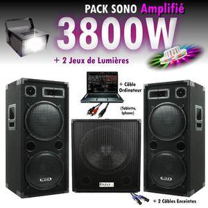 PACK SONO PACK SONO DJ 3800W CUBE 1512 avec CAISSON + ENCENT