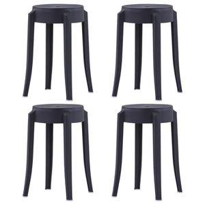 TABOURET DE BAR 4 pcs Tabourets empilables Noir Plastique