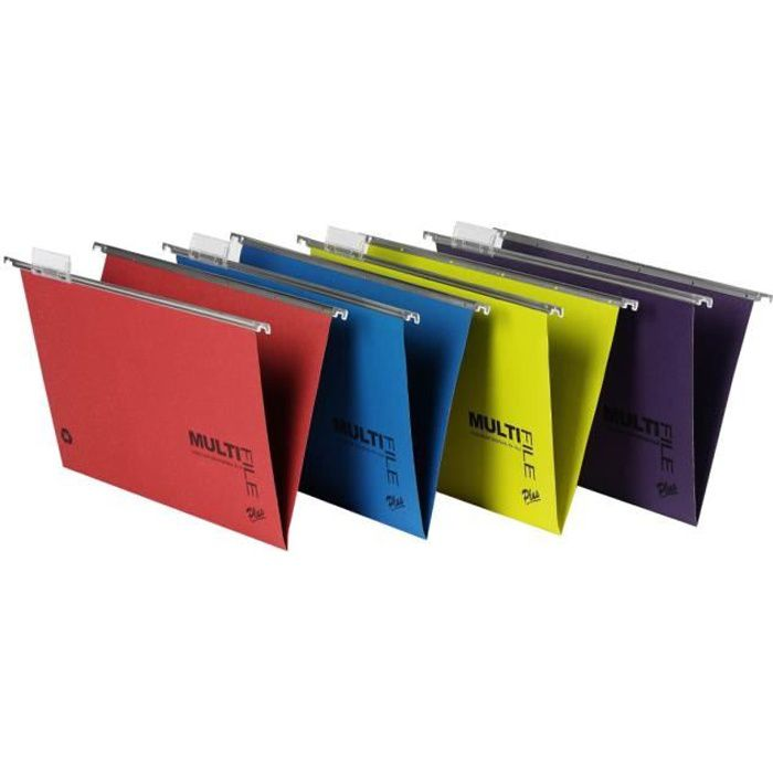 Rexel Multifile Plus Dossier suspendu base-V Foolscap pour 150 feuilles à onglets couleurs assorties (pack de 10)