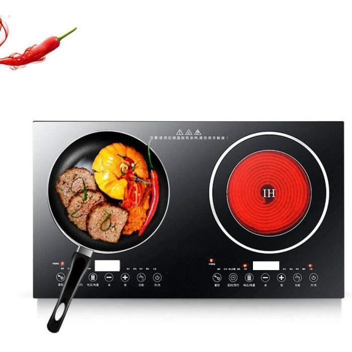 Double plaque de cuisson électrique à induction - 4 400 W - 2 brûleurs - Zones de cuisson - 8 vitesses - Puissance de feu 220 V -