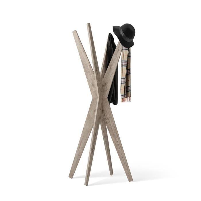 Mobili Fiver, Porte-manteau sur pied Design, Emma Chêne naturel, Mélaminé, Made in Italy
