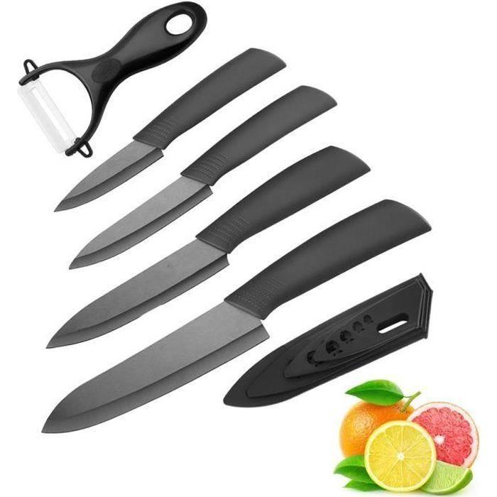 5pcs/Set Couteau en céramique , Ensembles de couteaux de cuisine Couteaux chef pour Couper Fruits Légumes Viande Noir