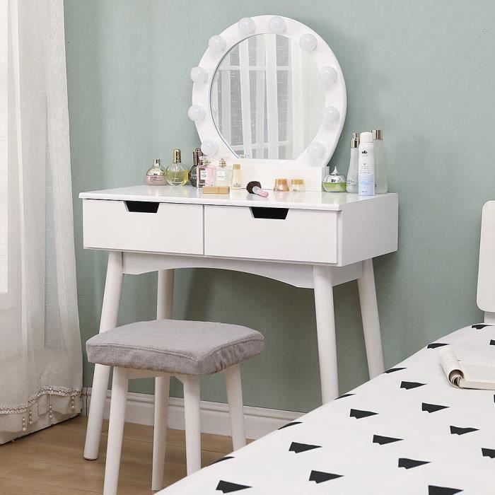 WISS Coiffeuse avec Un Miroir et Lampe à LED,Table de Maquillage Blanc Design scandinave