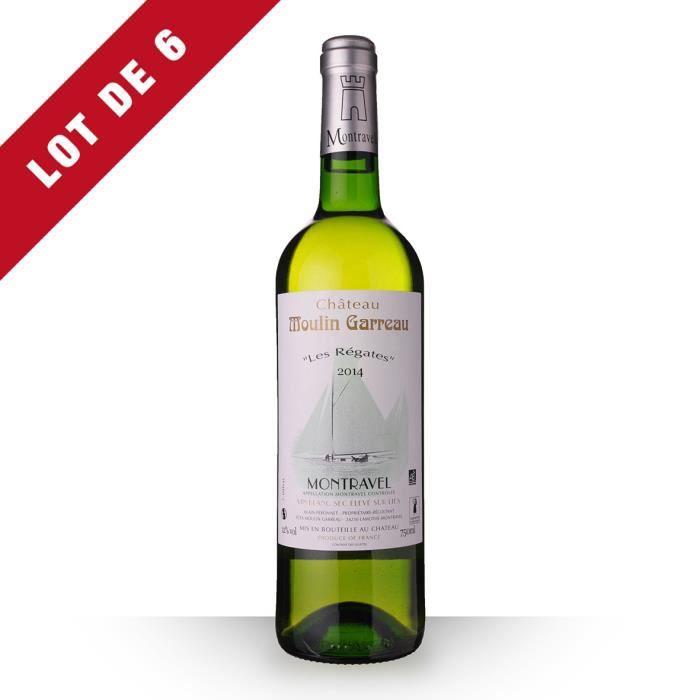 6X Château Moulin-Garreau les Régates 2014 Blanc 75cl AOC Montravel - Vin Blanc