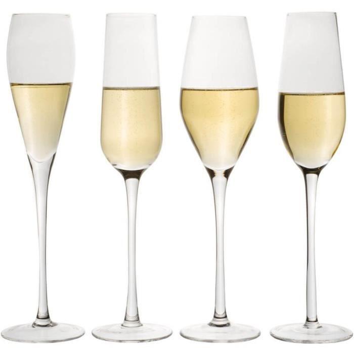 Amatable 37-2K-002 Flûtes à champagne Designs Set de 4 assorties Verre Transparent D7 x H26,5 cm