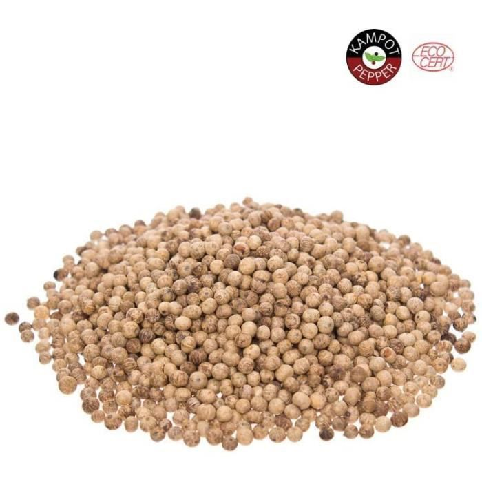 KHLA - Poivre Blanc de Kampot Premium IGP - 1 kg - Poivre en Grains en Sachet - Issu de l'Agriculture Biologique