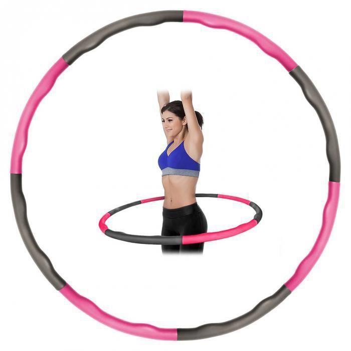 Kabalo Pondérée Pliable rembourré Fitness Workout Hula Hoop (rose - gris)