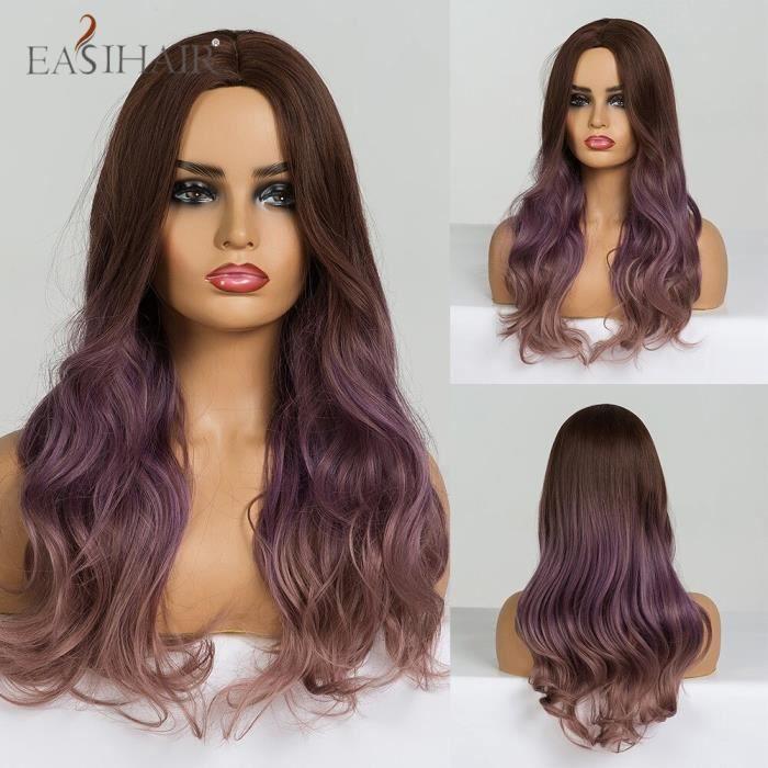 Perruques ondulées brunes longues avec reflets blonds perruques de cheveux synthétiques résistantes -lc184-3
