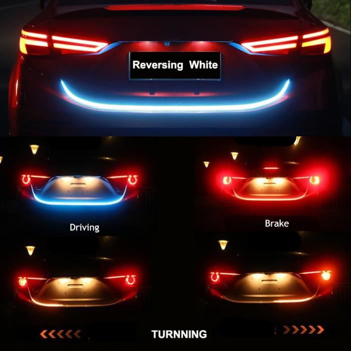 Feux arrière de coffre de voiture 12V, avertissement d'inversion dynamique, lumières LED