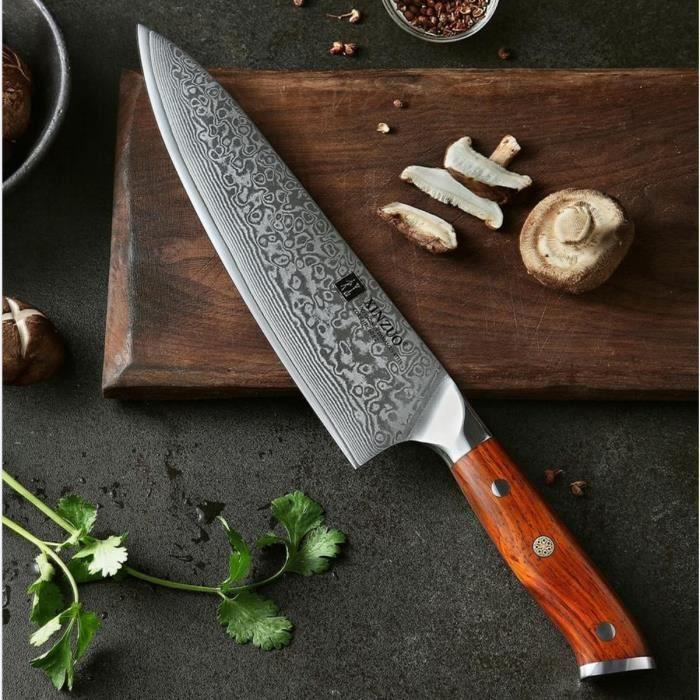 XINZUO Coutellerie Couteau de Chef avec une lame 21cm 67 Couches en Acier Damas Couteau de Cuisine, Japonais VG10 Couteaux de Chef