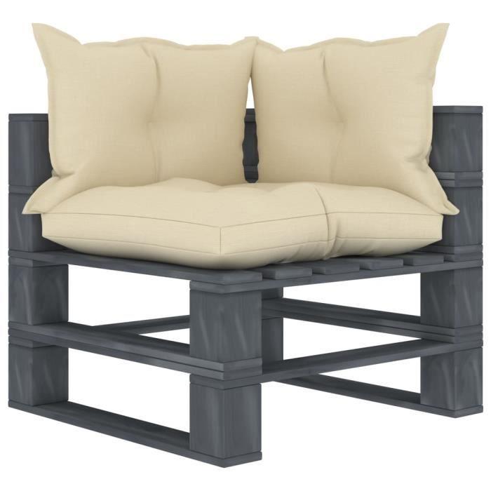 Canapé d'angle scandinave- Canapé palette de jardin- Siège d'Extérieur sofa fauteuil Patio Terrasse- avec coussins crème Bois✌2908