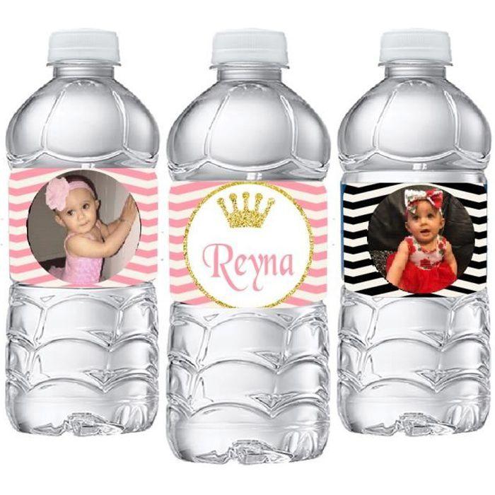 20 labels -20 pièces personnalisé or paillettes couronne Photo bouteille d'eau étiquettes bonbons barre emballage autocollant bébé d