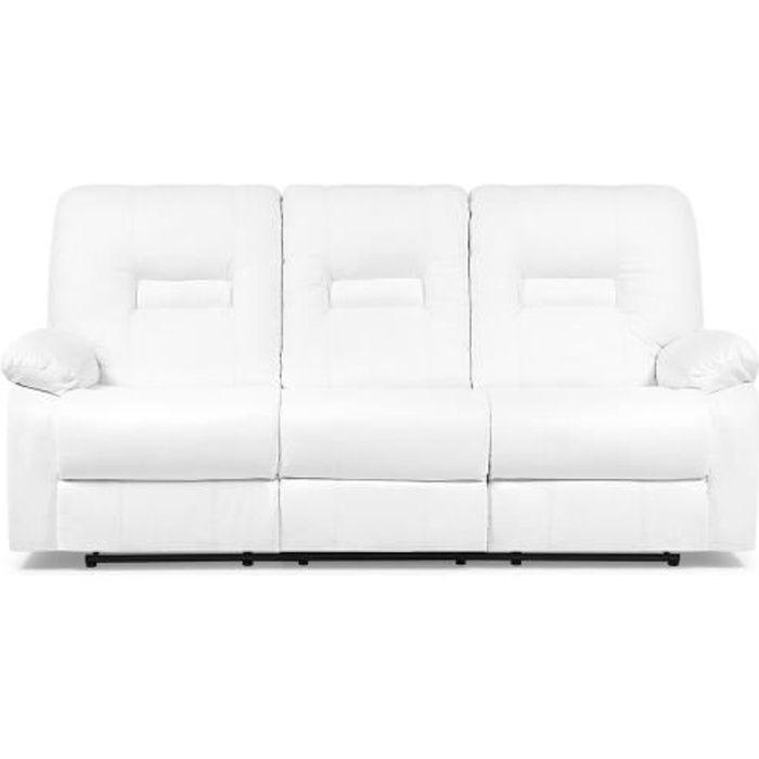 Beliani - Canapé 3 places en simili-cuir blanc avec position réglable BERGEN