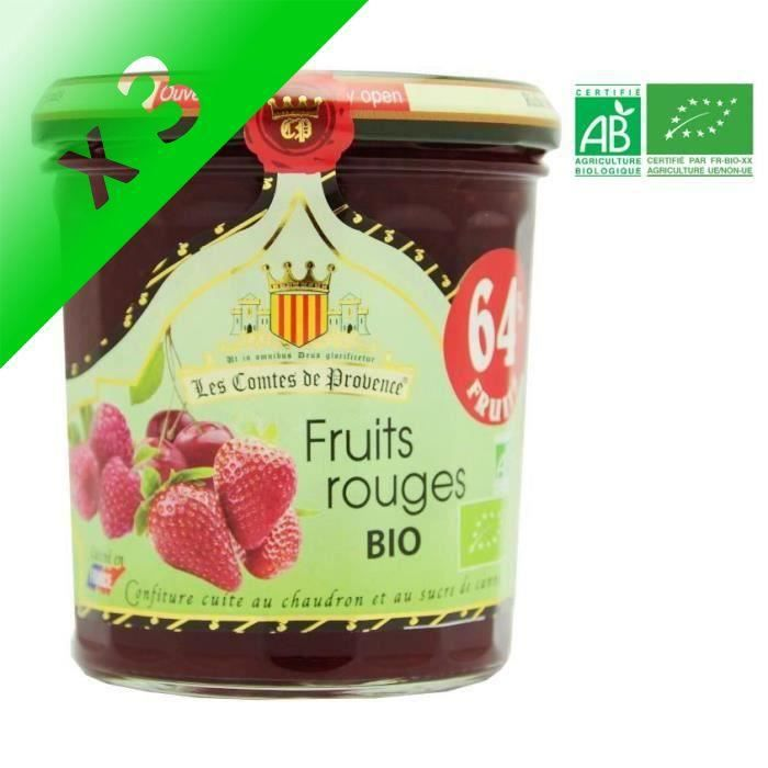 [LOT DE 3] LES COMPTES DE PROVENCE Confiture de Fruits Rouges Bio - 350g