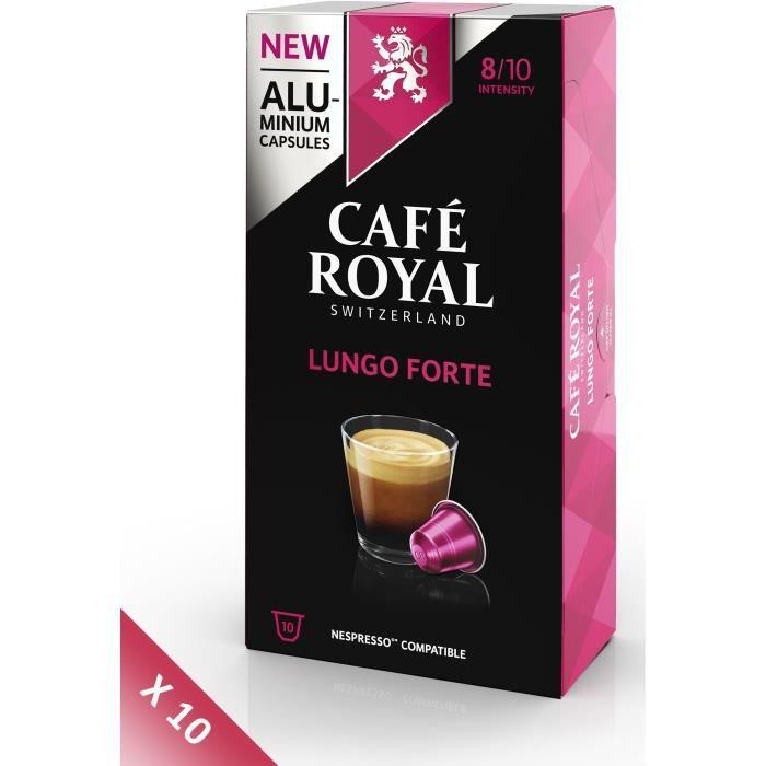 Lot de 10 CAFE ROYAL compatible Nespresso Alu Lungo Forte x10