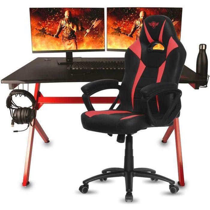 Pack bureau de gamer Drakkar FRIGG + Fauteuil Fighter - Noir et rouge - Acier et bois...
