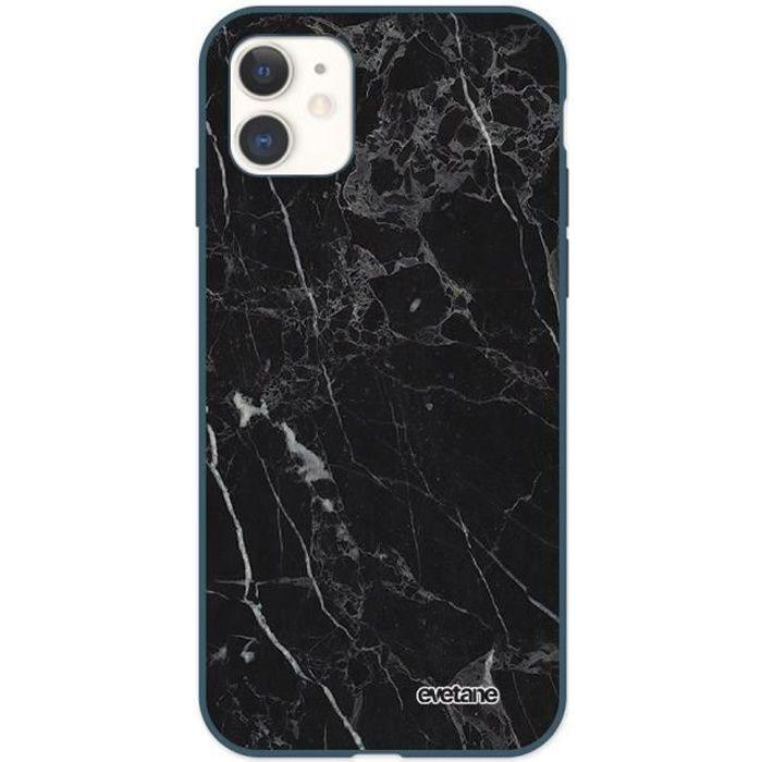 Coque iPhone 11 Silicone Liquide Douce bleu nuit Marbre noir Ecriture Tendance et Design Evetane