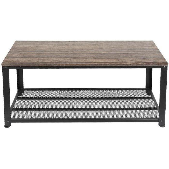 JEOBEST® Table basse - Style industriel - Avec étagère de rangement