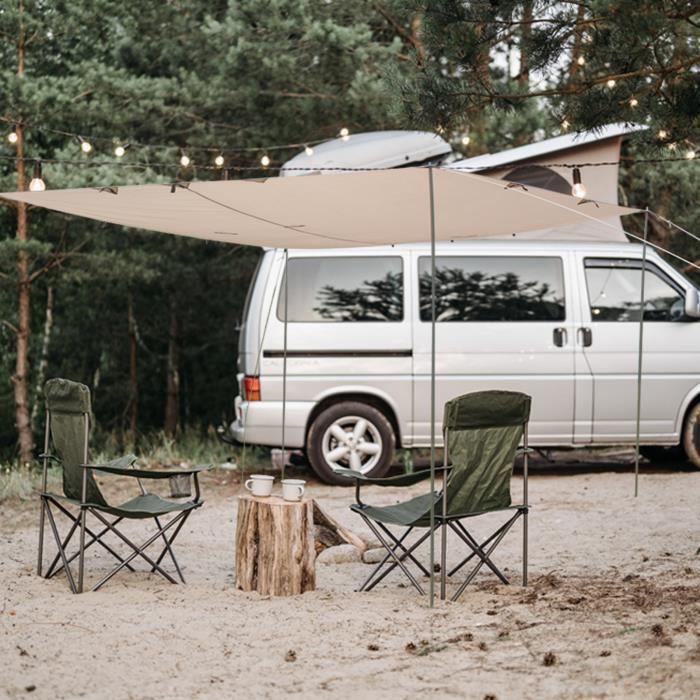 Laxllent Bâche Anti-Pluie, Tent Tarp Imperméable 3x3M Carré, Abri de Randonnée Pliable Léger pour Le Camping,Champignon