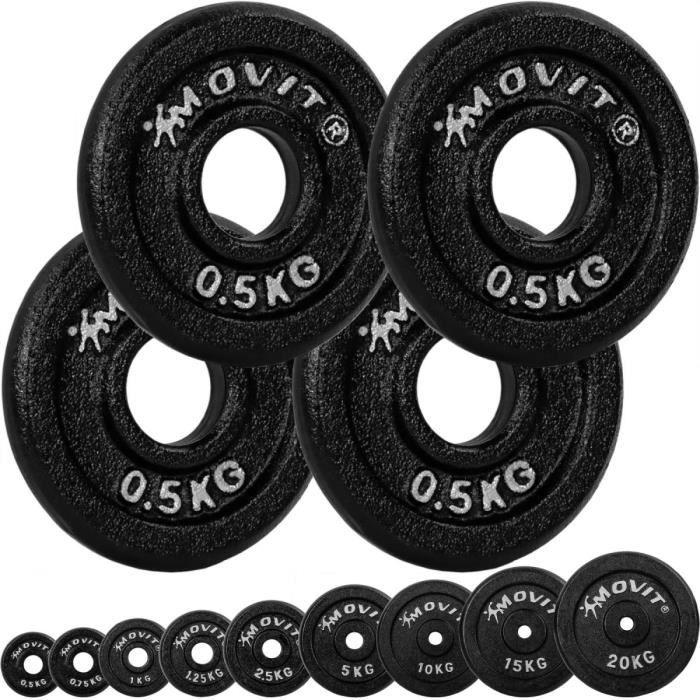 MOVIT Lot de 4 disques en fonte de 0,5 kg - 2 KG - NOIR