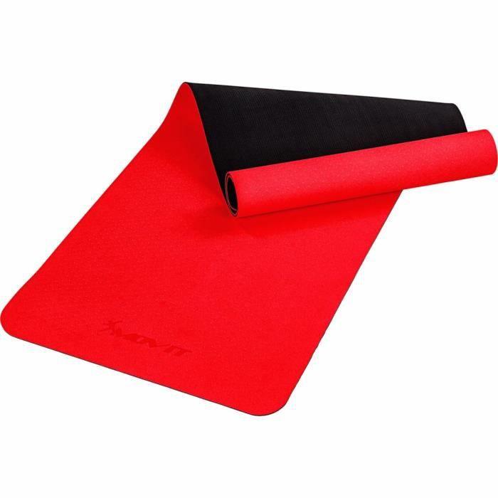 MOVIT Tapis de gymnastique TPE, tapis de pilates, tapis d'exercice premium, tapis de yoga, 190 x 60 x 0,6 cm, rouge