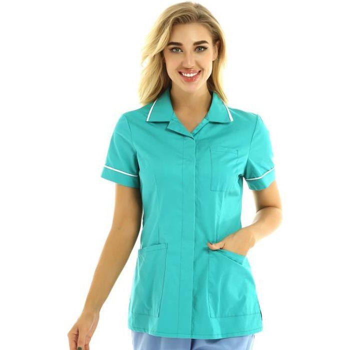Femme Chemise Médicale Uniforme Manche Courte Poche Haut T-shirt Tenue Hôpital Chirurgien Pharmacie S-XXL Vert