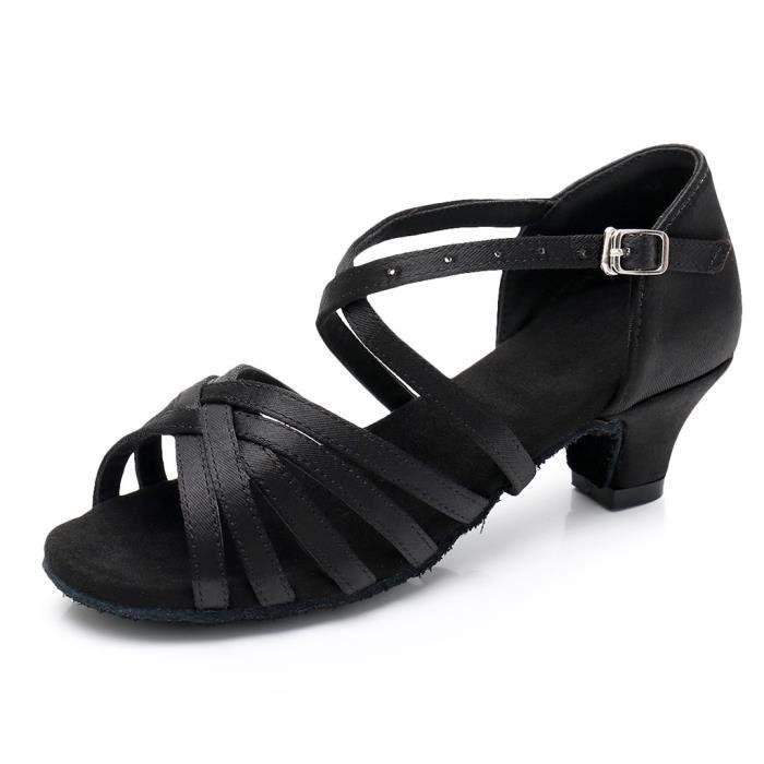 Femmes Dames Faible Princesse Danse Salle De Bal Tango Latin Chaussures Sandales -Noir