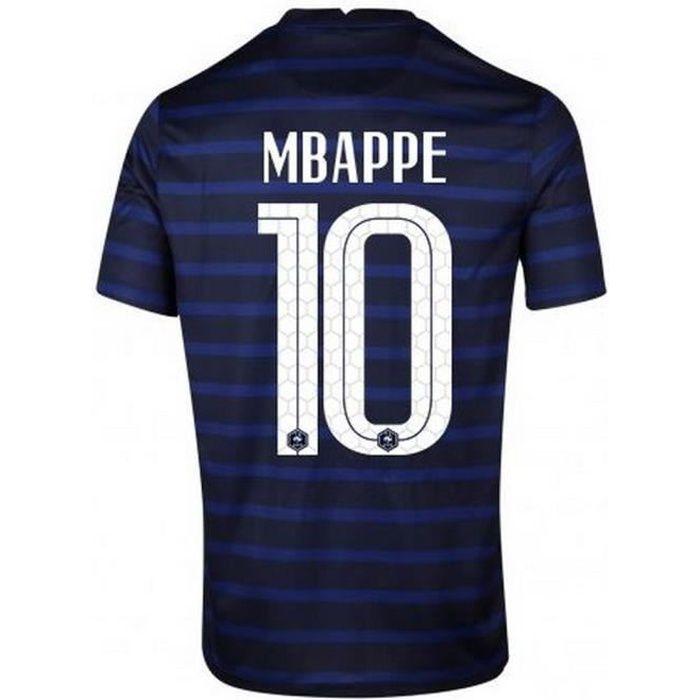 Nouveau Maillot Officiel de Football Enfant Nike France Domicile Euro 2020 Flocage Officiel Numéro 10 Mbappé