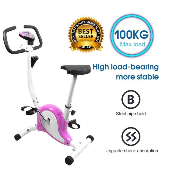 Vélo d´appartement Vélo cardio LCD intérieur fitness exercise - 100kg capacité de charger - Violet