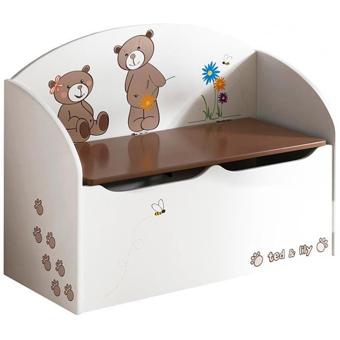 Coffre à jouets en bois Choco / Beige, L69.5 x H55.5 x P29.5 cm