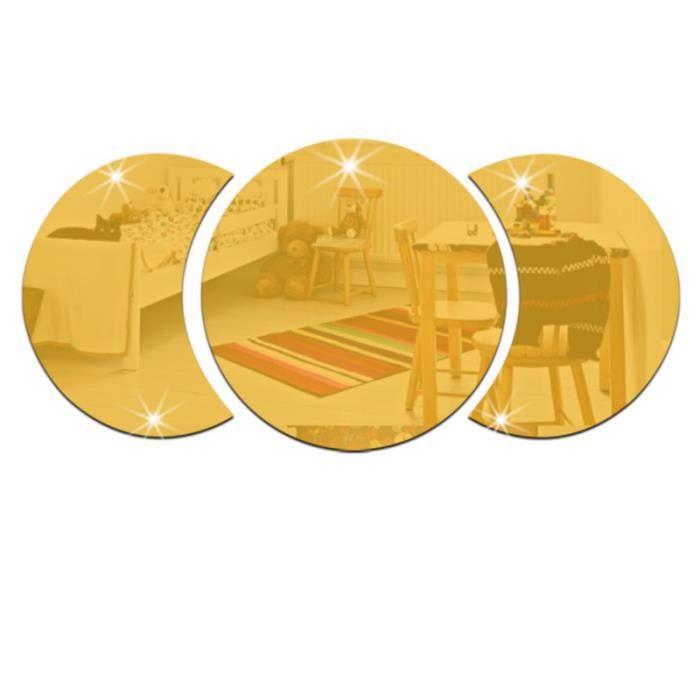 1PC acrylique miroir doré étanche combiné cercle rond autocollant mural pour la maison salon chambre décoration MICRO-ONDES