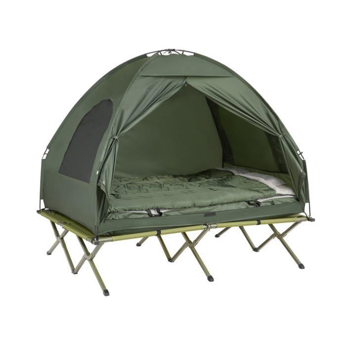 SoBuy® OGS32-L-GR 4-in-1! 2 Places Lit de camp pliant Voyage Camping avec toit, sac de couchage, matelas gonflable, sac de transport