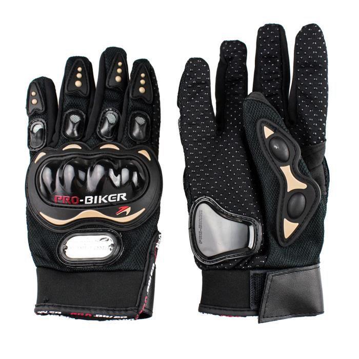 PRO-BIKER Gants doigt complet gants de moto/course antidérapant pour moto/vélo/sports etc (noir-L)