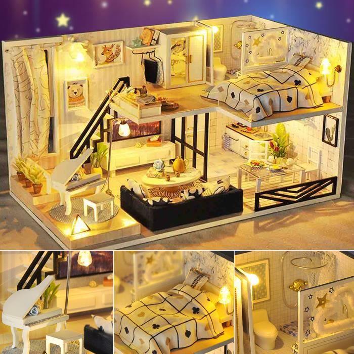 TEMPSA DIY Maison De Poupée Moderne - La Maison Moderne - Kit De Meubles De Maison De Poupée - Boîte à Lumière LED - Cadeau D'enfant