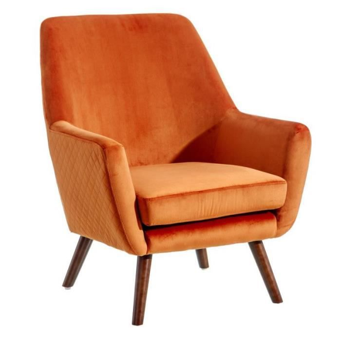 Fauteuil Orange Velours/Bois - ABHOE - L 73 x l 79 x H 87